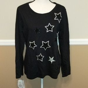 NWT.  STUNNING BLACK KNIT SWEATER WITH STARS